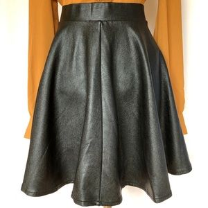 Topshop Faux Leather Skater Skirt